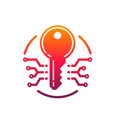 cyber security and protection key icon vector image