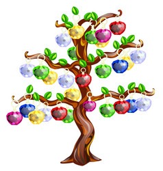 Decorative tree with apples made precious vector