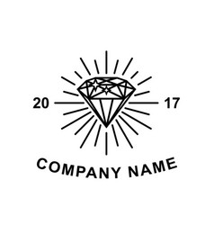 diamond logotype concept black diamond outline vector image vector image