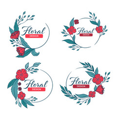 doodle floral frames with fresh flowers vector image