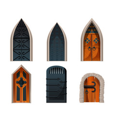 Doors set wooden and metal medieval entries vector
