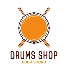 Drum icon with sticks drum school logo vector
