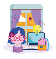 Education online cute girl studying computer in vector