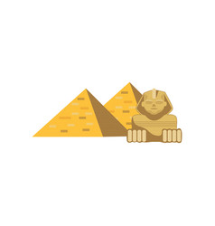 Egypt great pyramids and sphinx statue signs of vector
