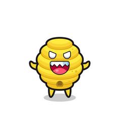 Evil bee hive mascot character vector