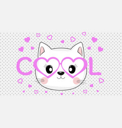 face of a cool cat in pink glasses vector image