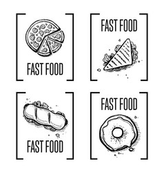 Fast food hand drawn doodle set vector