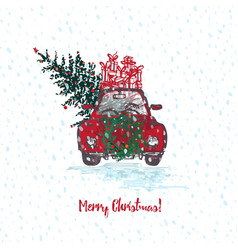 festive christmas card red car with fir tree vector image