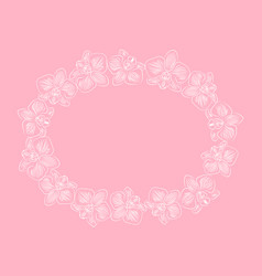Frame with orchids on pink background vector