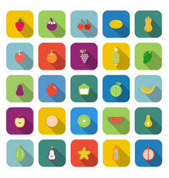 Fruit color icons with long shadow vector