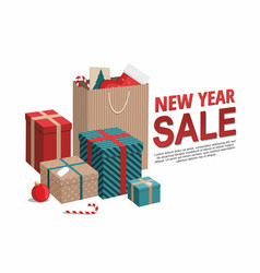 gift boxes and shopping bags on white vector image