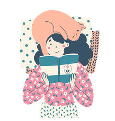girl with cat lies reading book literature vector image