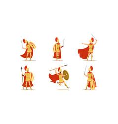Gladiators holding swords set fighting vector