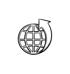 Globe with latitudes hand drawn sketch icon vector