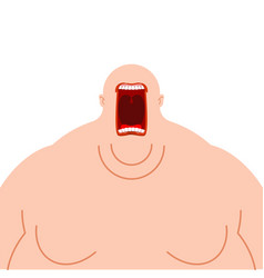 glutton hungry fat man open mouth fatso heavy vector image