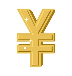 Golden Chinese Yen Symbol of money in China cash vector image vector image