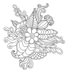 Hand drawn patterned floral frame in doodle style vector