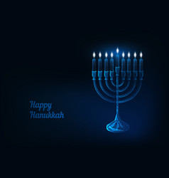 Happy hanukkah greeting card with glowing low poly vector