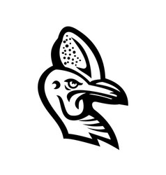 head a cassowary mascot black and white vector image