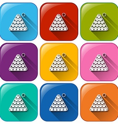 Icons with billiard balls vector