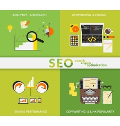 Infographic flat concept of SEO vector image