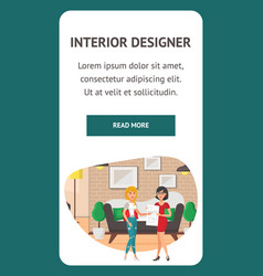 interior designer landing page template vector image