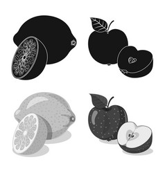 Isolated object of vegetable and fruit logo vector