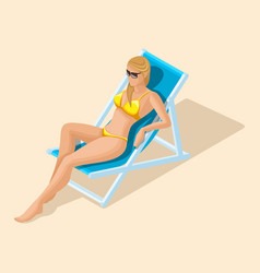 Isometric girl in a bright swimsuit in beach sea vector