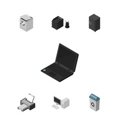 Isometric office set of strongbox desk file rack vector