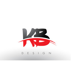 Kb k b brush logo letters with red and black vector