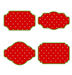 Knitted red christmas tag green frame vector