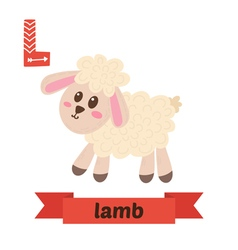 Lamb L letter Cute children animal alphabet in vector