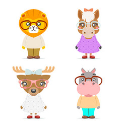 lion horse deer hippo cute animal boy girl cubs vector image