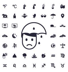 Man on rainy weather icon vector