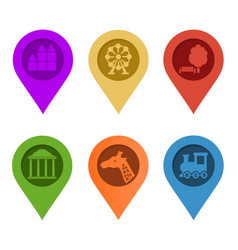 map pin set of bright map pointers on white vector image