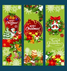merry christmas holiday santa gifts banners vector image