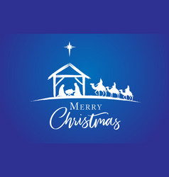 merry christmas jesus in manger on blue vector image