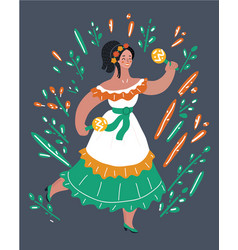 Mexican woman in dress vector