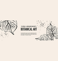 monstera tropical outline leaves and splashes big vector image