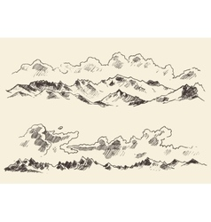 Mountains sketch contours engraving drawn vector image
