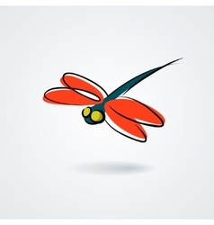Multicolor dragonfly on white background vector