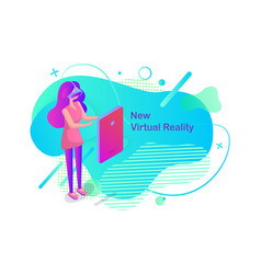 new virtual reality woman wearing vr glasses vector image