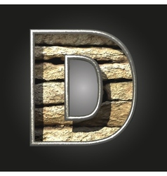 Old stone letter d vector