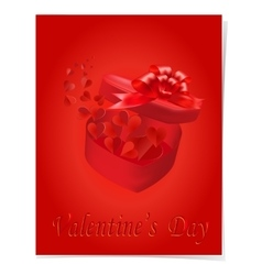 Open gift box with a bow on a red background vector