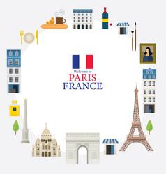 paris france landmarks and travel frame vector image