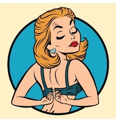 Pin-up girl wears a bra vector
