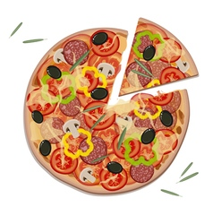 Pizza with Rosemary Leaves vector image