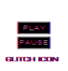 Play and pause button icon flat vector