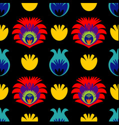 polish folk tile pattern with traditional seamless vector image