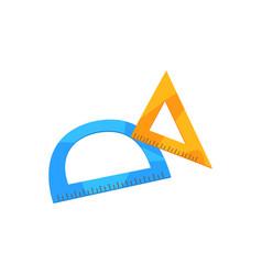 Protractor and triangular ruler cartoon vector